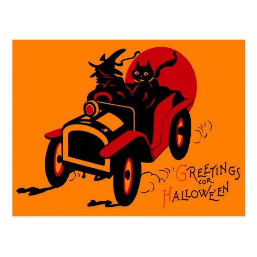 Häxa & katt för rishög för Halloween Retro vintage Vykort