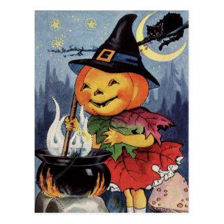 Häxa MoonPostcard för Halloween vintagepumpa Vykort