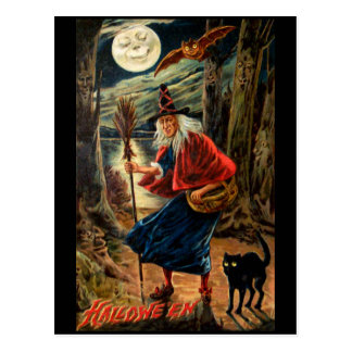 Häxa på den Halloween natten Vykort