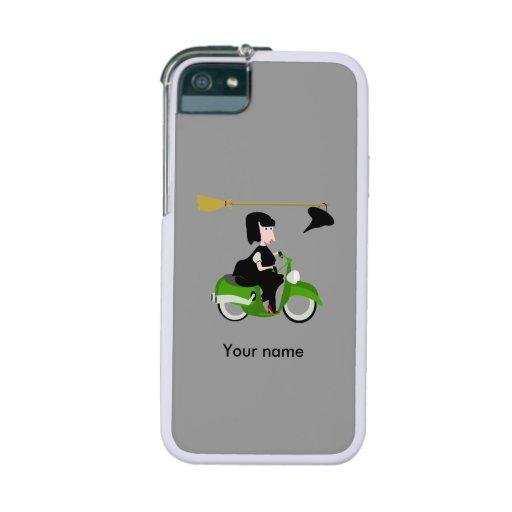 Häxa som rider en varad nedstämd grönt iPhone 5/5S fodral