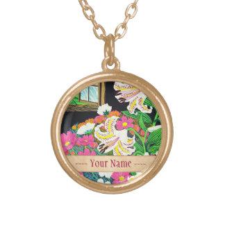 Hayashi Waichi guld- Rayed lilja och kosmos Guldpläterat Halsband