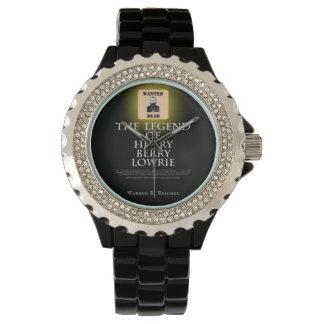 HBL - Svart emaljrhinestonearmbandsur Armbandsur