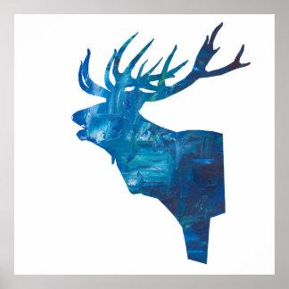 head fullvuxen hankronhjort för hjort i blått poster