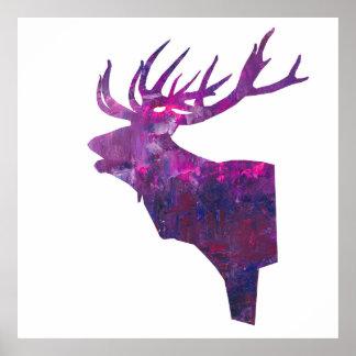 head fullvuxen hankronhjort för hjort i rosa lila poster