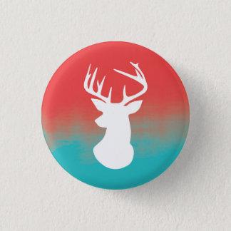 Head modern röd Ombre för hjort vattenfärg & blått Mini Knapp Rund 3.2 Cm