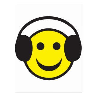 Headphonesmiley faceöversvallande beröm vykort