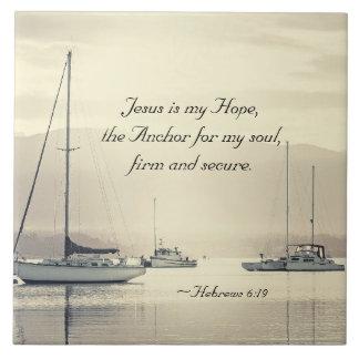 Hebré6:19 Jesus ankrar för min soul, segelbåtar Kakelplatta