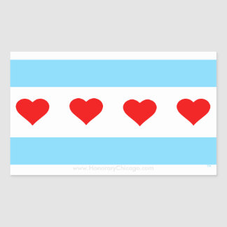 Heders- klistermärkear för Chicago hjärtaflagga Rektangulärt Klistermärke