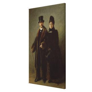 Heinrich Schliemann och hans fru Canvastryck