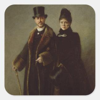 Heinrich Schliemann och hans fru Fyrkantigt Klistermärke