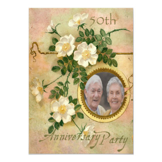 Heirloomen steg det 50th årsdagpersonligfotoet 12,7 x 17,8 cm inbjudningskort