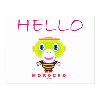 Hej-Gullig Apa-Morocko Vykort
