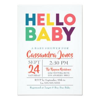 Hejbaby - genderneutraltbaby shower 12,7 x 17,8 cm inbjudningskort