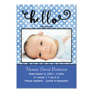 hejblått pricker/blåttfotoet - födelsemeddelande 12,7 x 17,8 cm inbjudningskort