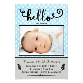 hejblått pricker/det gråa fotoet - meddelandet 8,9 x 12,7 cm inbjudningskort