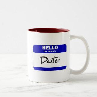Hejen mitt namn är Dexter (blått) Två-Tonad Mugg