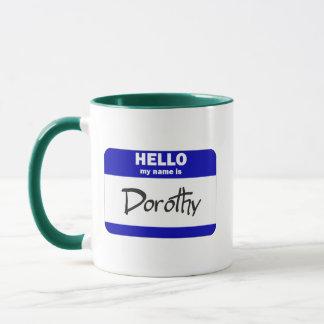 Hejen mitt namn är Dorothy (blått) Mugg
