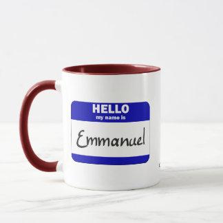Hejen mitt namn är Emmanuel (blått) Mugg