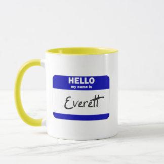 Hejen mitt namn är Everett (blått) Mugg