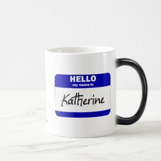 Hejen mitt namn är Katherine (blått) Magisk Mugg