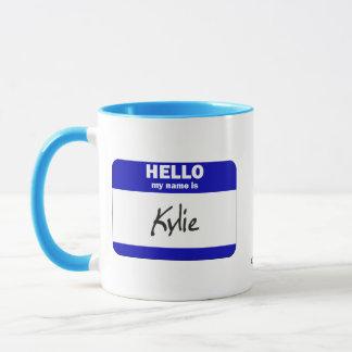 Hejen mitt namn är Kylie (blått) Mugg