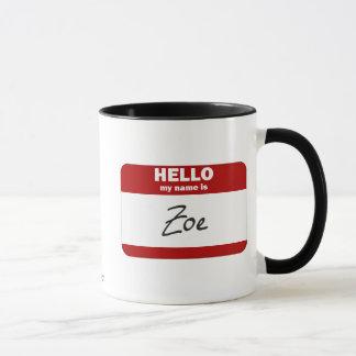 Hejen mitt namn är (röda) Zoe, Mugg