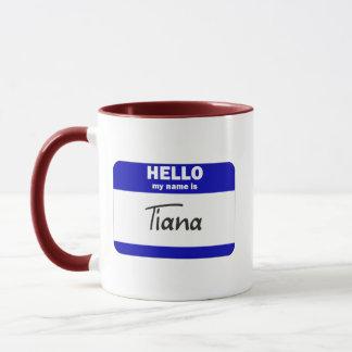 Hejen mitt namn är Tiana (blått) Mugg