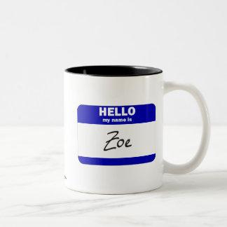 Hejen mitt namn är Zoe (blått) Två-Tonad Mugg
