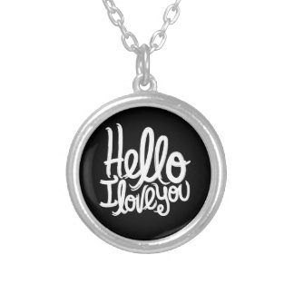 Hejer älskar jag dig det silver pläterade halsband med rund hängsmycke