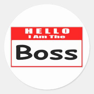 Hejer I-förmiddag den chef… nametagen Runt Klistermärke