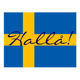 Hejer i svenska Hallå! Svenskflaggavykort