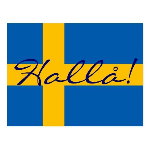 Hejer i svenska Hallå! Svenskflaggavykort Vykort