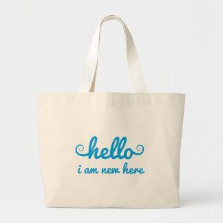 hejer ny I-förmiddag här, textdesign för baby show Tote Bags