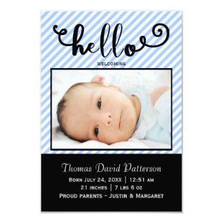 hejer slösar randfotoet - meddelande för födelse 8,9 x 12,7 cm inbjudningskort