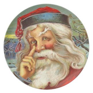 Helgdag för jul för den vintageSanta melaminen Tallrik