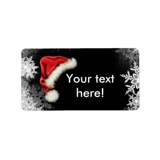 Helgdag för jul för Santa hattSnowflake Adressetikett
