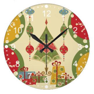 Helgdag för presenter för julgranprydnadgåvor stor rund klocka