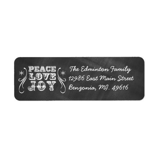 Helgdag för svart tavla för glädje för kärlek för returadress etikett