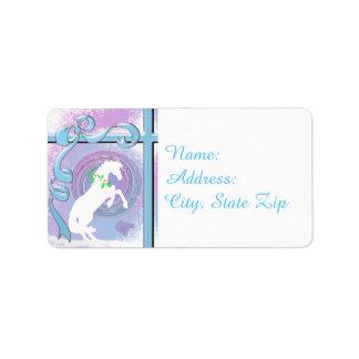 Helgdag för vithjärtahästar V (rosor/Lav virvlar Adressetikett