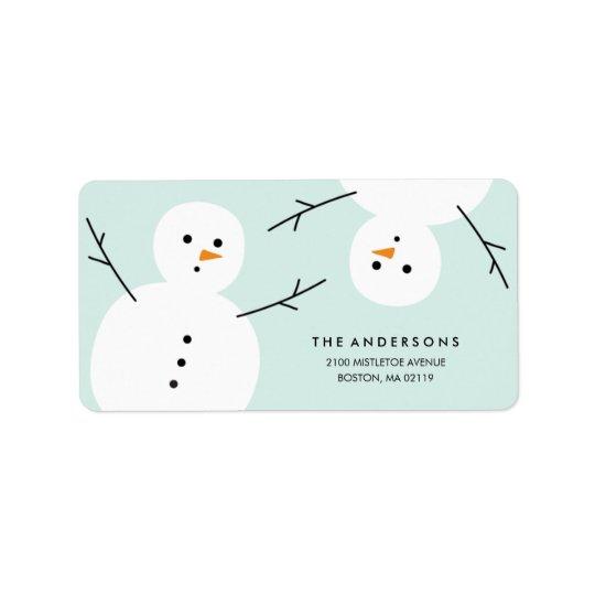 Helgdagadressetiketter för snögubbe | adressetikett