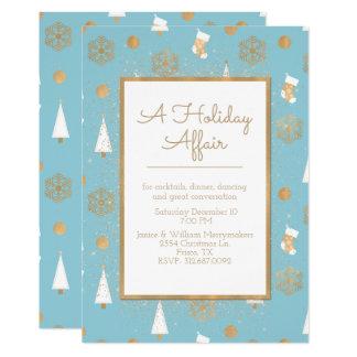Helgdagangelägenhetblått och en guld- 12,7 x 17,8 cm inbjudningskort
