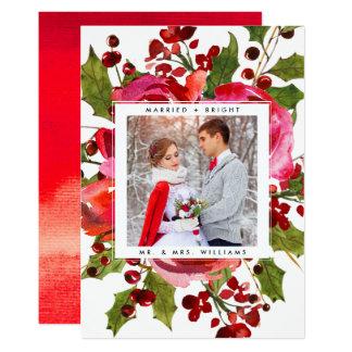HELGDAGFOTOKORT   att gifta sig och ljus jul 12,7 X 17,8 Cm Inbjudningskort