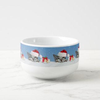 Helgdagkatt i den Santa hatten Mugg För Soppa