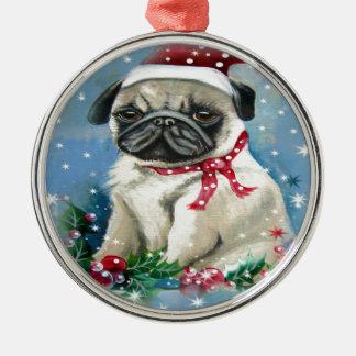 Helgdagmopshund design julgransprydnad metall