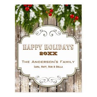 helgdagskort för bär för vinterskogsmarkgräs vykort