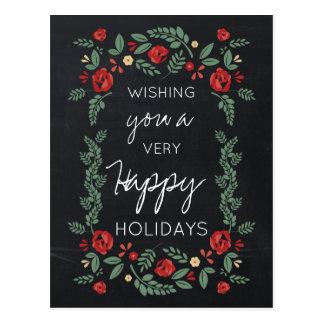 helgdagskort för svart tavlablommigtträdgård vykort