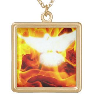Helig ande guldpläterat halsband
