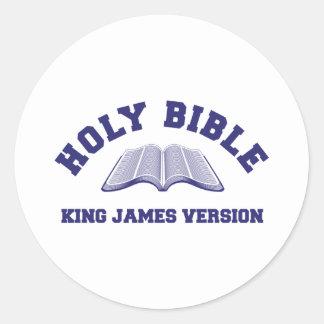 Helig version för bibelkung James i blått Runt Klistermärke