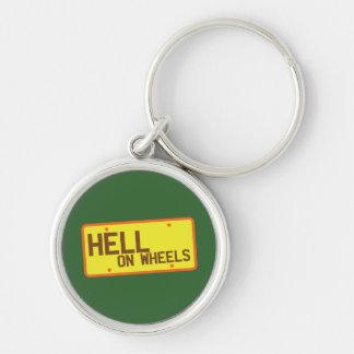 Helvete på hjul licenserar pläterar produkter rund silverfärgad nyckelring