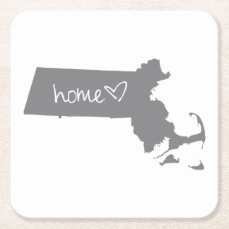 Hem- <3 Massachusetts Underlägg Papper Kvadrat